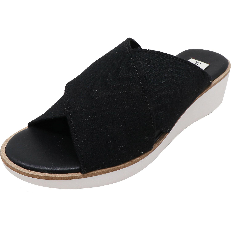 Ellen Degeneres Women's Svetlana Denim Black Fabric Wedged Sandal - 7.5M