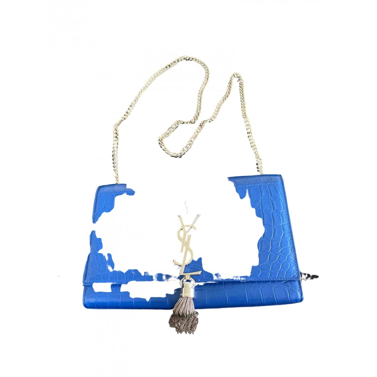 Saint Laurent Pompom Kate Handtasche in  Blau Leder