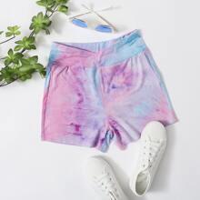 Overlap Waist Tie Dye Biker Shorts