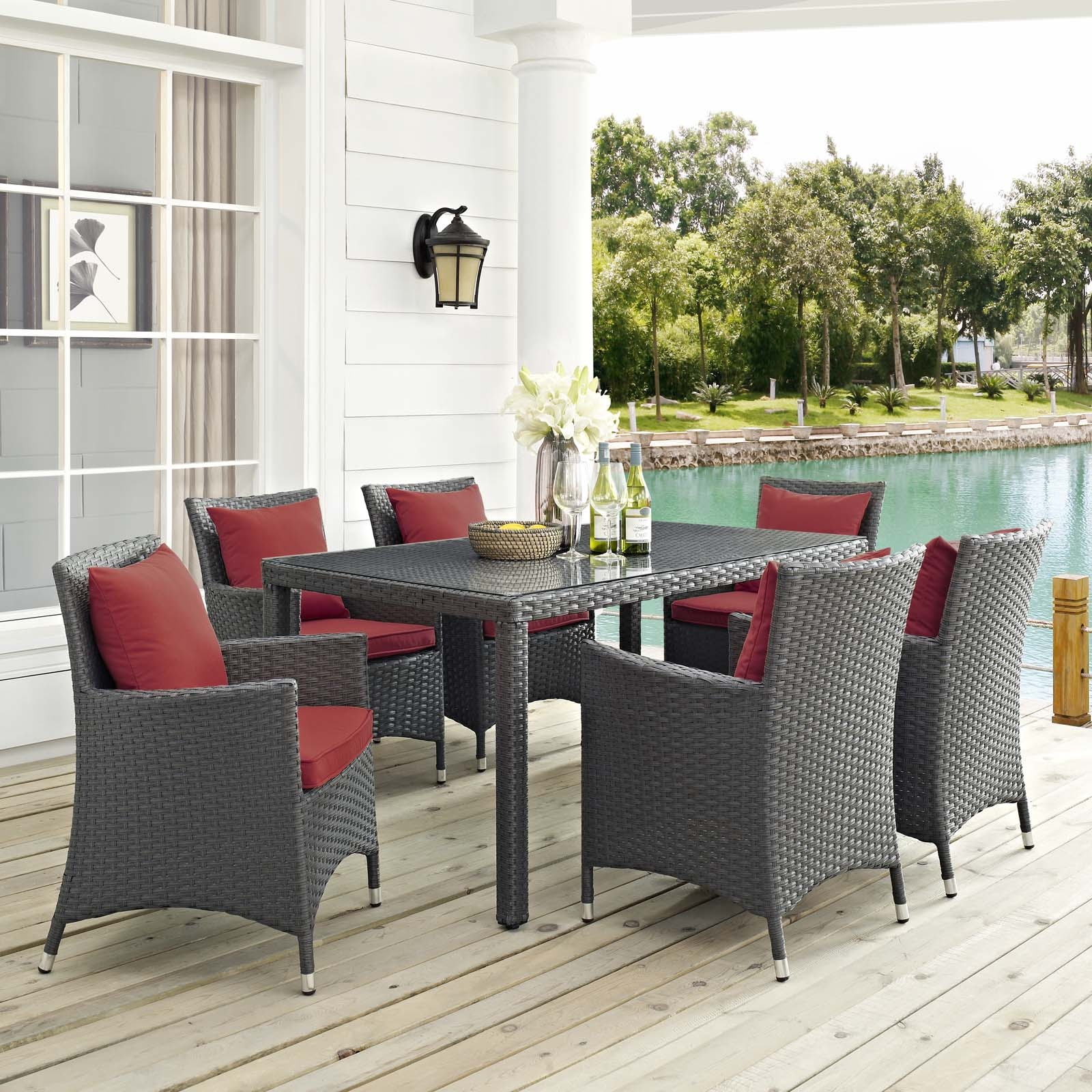 Sojourn 7 Piece Outdoor Patio Sunbrella® Dining Set in Canvas Red