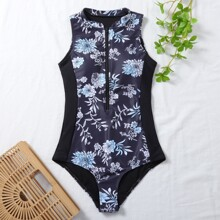 Floral Zipper Front One Piece Swimsuit