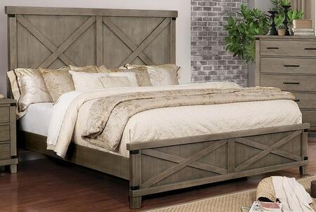 Bianca Collection CM7734GY-EK-BED 86 King Size Bed with Solid Wood Construction  Plank Style Headboard and Footboard in