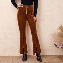 Pantalones de pierna amplia bajo con abertura con costura delantera con cremallera