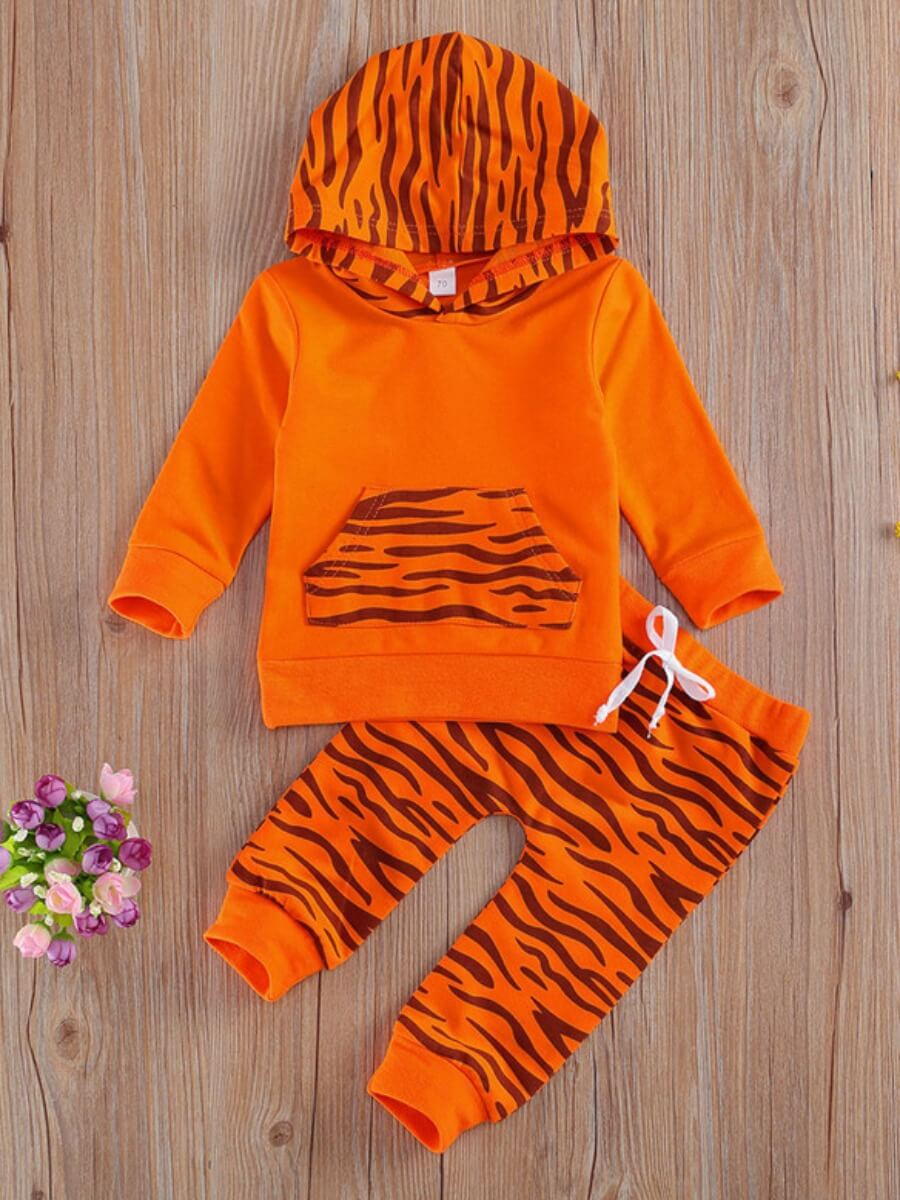 LW Lovely Trendy Hooded Collar Striped Print Orange Boy Two-piece Pants Set