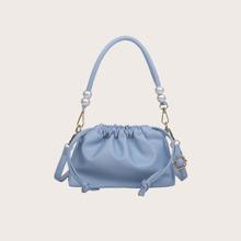Faux Pearl Detail Drawstring Shoulder Bag