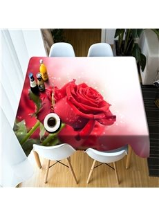 3D Red Rose with Dewdrops Printed Home and Restaurant Table Cove Cloth