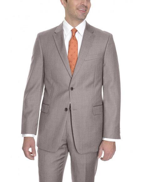 Mens Tan Single 2 Button Wool Classic Fit Suit Front Pants