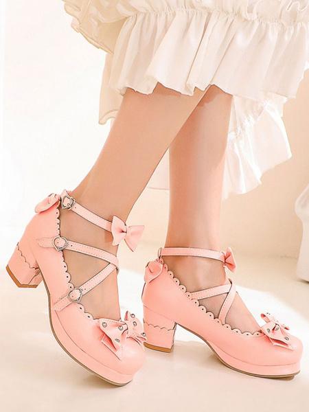 Milanoo Sweet Lolita Footwear Bows Zapatos de punta redonda Cuero de PU Lolita Pumps
