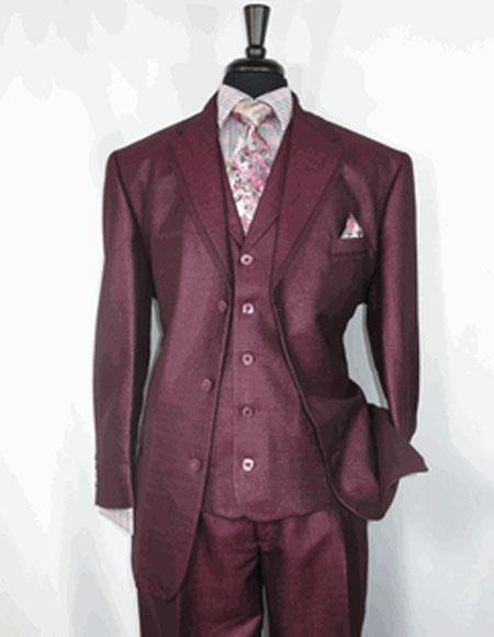 Men's Sharkskin Burgundy Single Breasted Notch Lapel 3 Button Suit