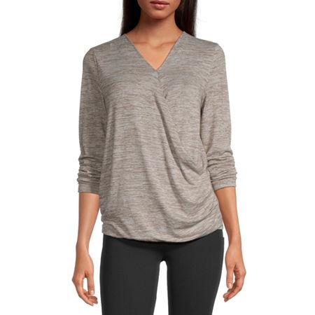 Stylus Surplice Womens V Neck Long Sleeve Wrap Shirt, Small , Beige