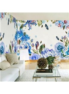 3D Flowers Pattern Luxury Style PVC Sturdy Waterproof Eco-friendly Self-Adhesive Wall Mural