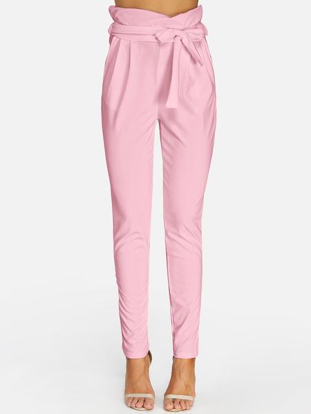 Yoins Pink Self-tie Embellished Pants