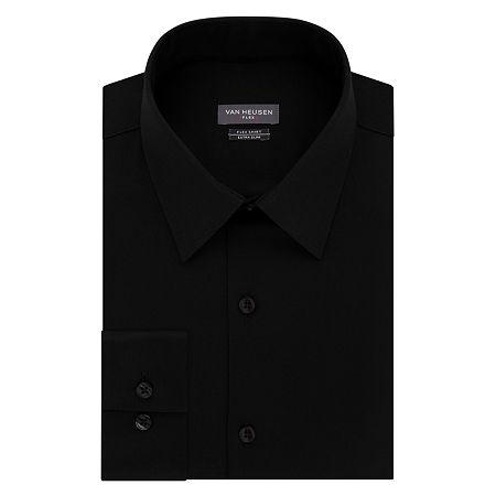 Van Heusen Flex Collar Extra Slim Stretch Long Sleeve Dress Shirt, 16.5 32-33, Black