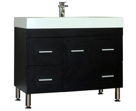 Ripley Collection AT-8041-B 39 Single Sink Bathroom Vanity with 4 Drawers  1 Door  Pure White Acrylic Countertop  Acrylic Resin Sink  Brushed Chrome