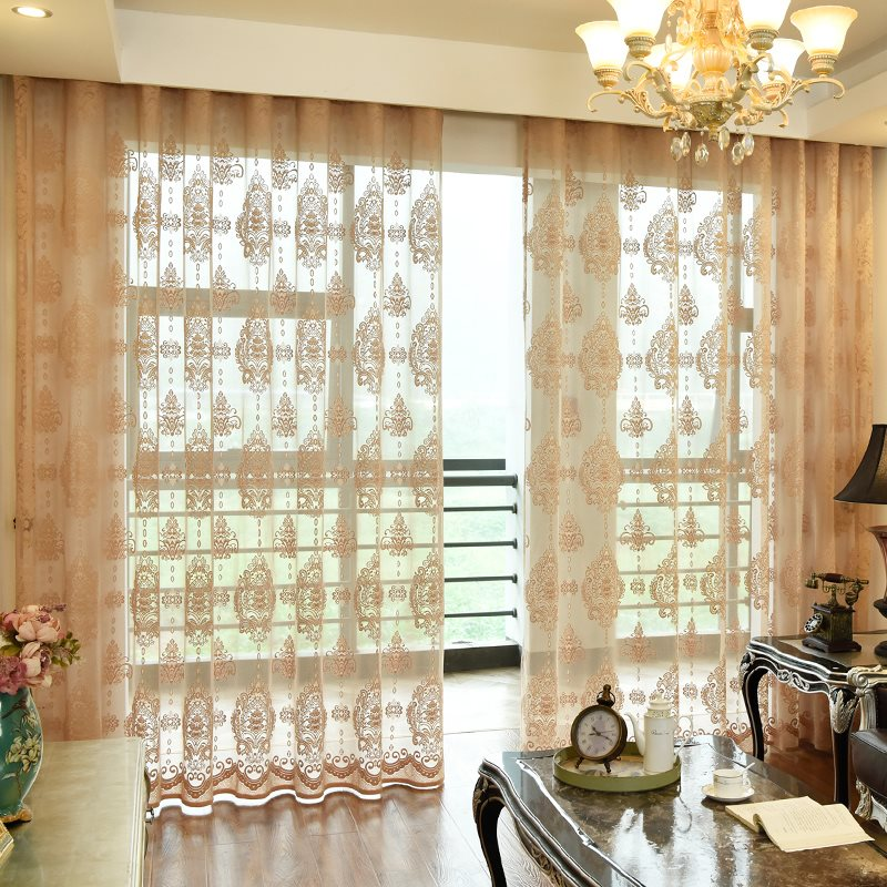 Classic Delicate Embroidery 2 Panels Semi Sheer Curtains for Living Room Bedroom