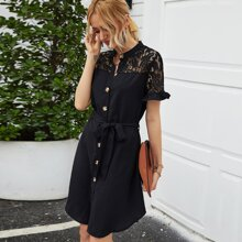 Contrast Lace Belted Shirt Dress