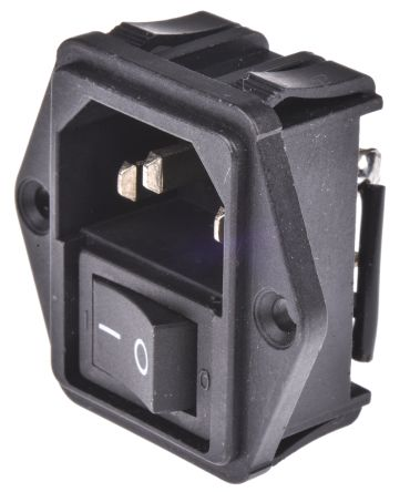 TE Connectivity ,15A,250 V ac Male Flange Mount IEC Filter 2 Pole 1-1609112-4,Spade None Fuse