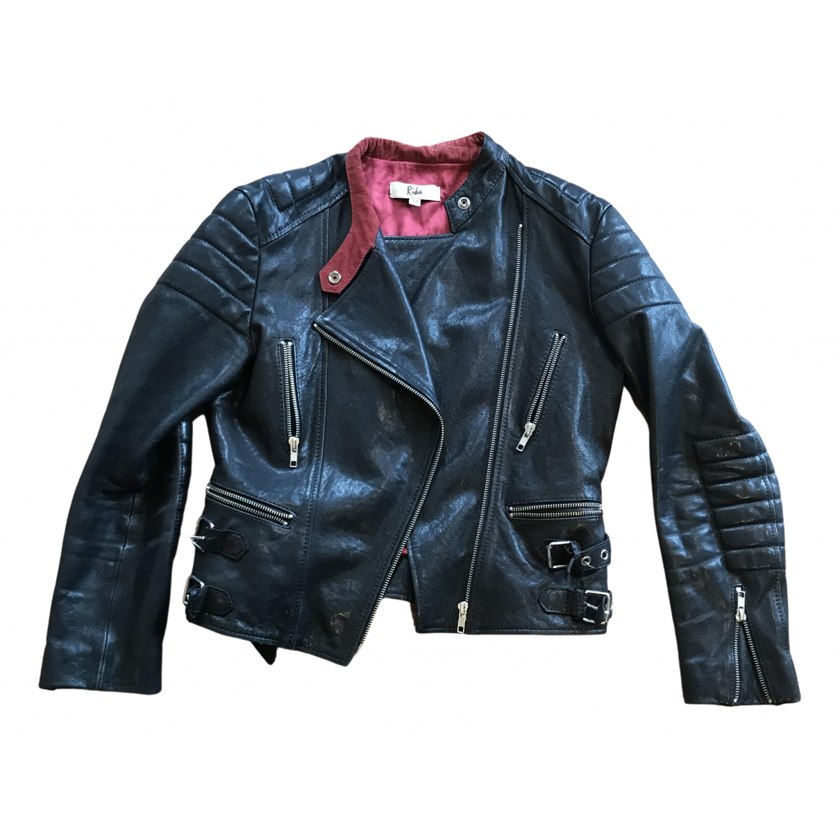 Rika N Black Leather Leather jacket for Women M International
