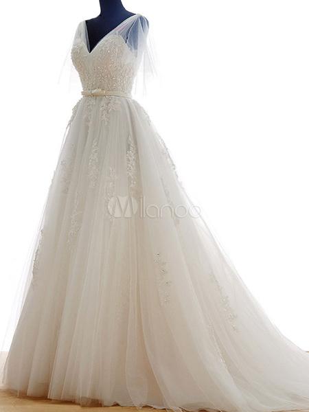 Milanoo Vestidos de novia de lujo con cuello en V Con cola con manga corta De banda de encaje de linea A de marfil