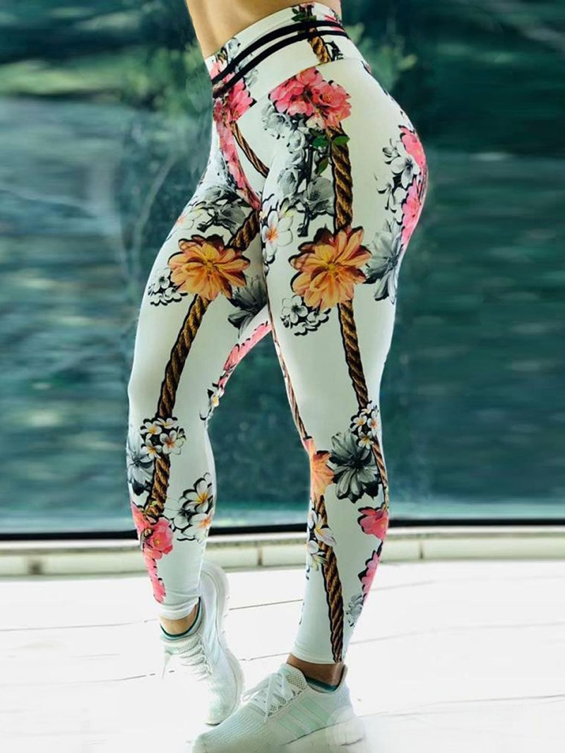 Ericdress Print Floral Whip Nylon High Waist Womens Leggings