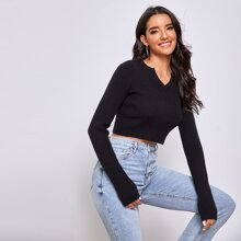 Notched Neck Crop Sweater