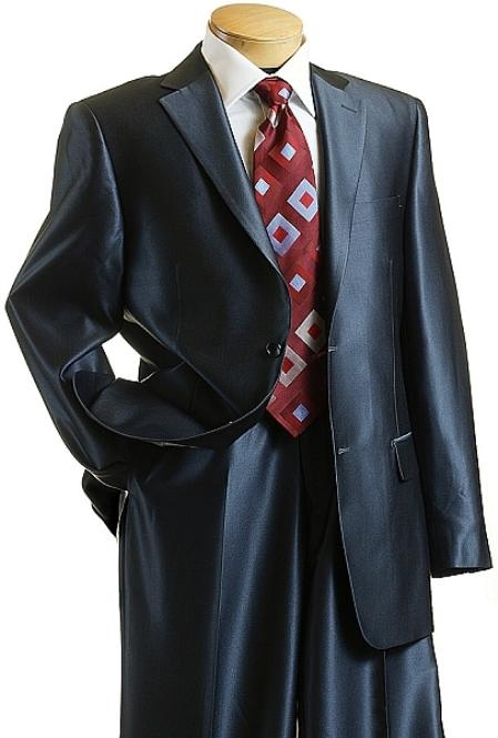Utex Shiny 2 Button Dark Blue Sharkskin Mens Suit