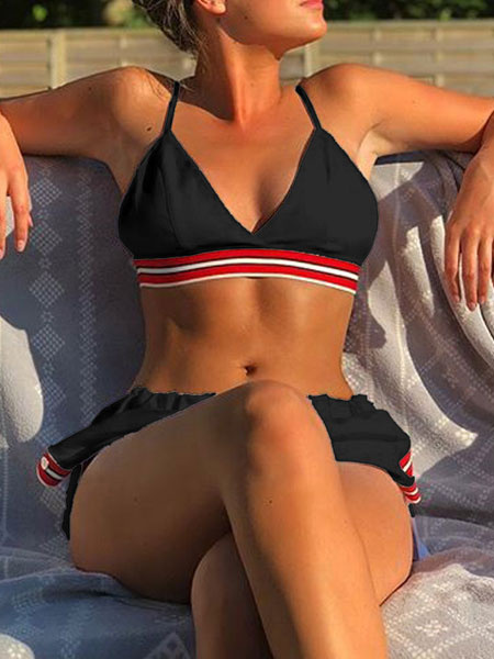 Milanoo Women 3 Piece Sets Stripes Buttons Straps Neck Knotted Sleeveless Summer Beach Swimsuit
