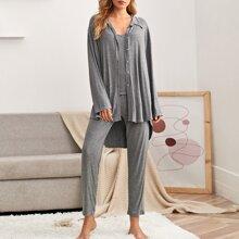 3 Stuecke Einfarbiger Cami Schlafanzug Set & Hausmantel mit Knopfen vorn