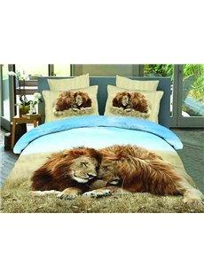 3D Snuggling Lion Couple Printed Cotton 4-Piece Bedding Sets/Duvet Covers