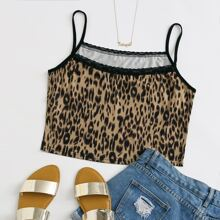 Plus All Over Print Lace Trim Cami Top