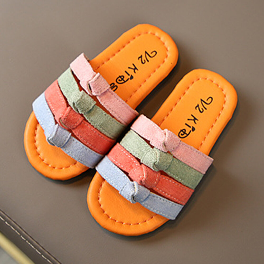 Girls Stylish Rainbow Multiple Strap Comfy Soft Sole Lovely Slippers