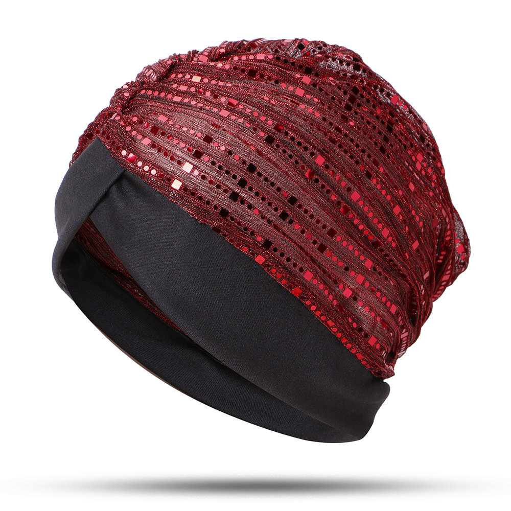 Women Thin Sequin Mesh Muslim Indian Beanie Hat Outdoor Casual Turban Arab Hat