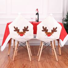 Funda de silla con patron de alce de navidad 1 pieza