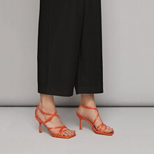 Cross Thin Strap Stiletto Heeled Sandals