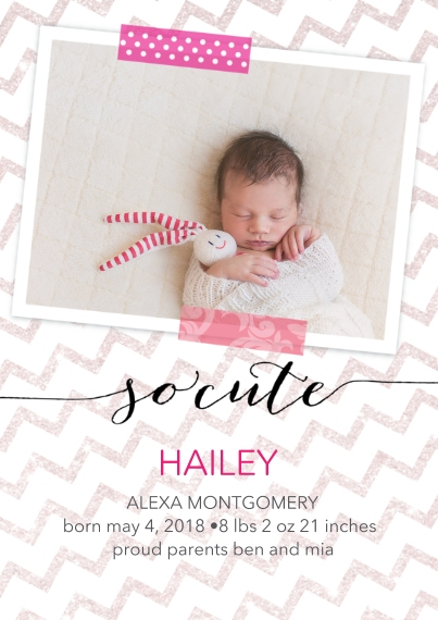 Newborn 5x7 Cards, Premium Cardstock 120lb, Card & Stationery -So Cute Pink by Posh Paper