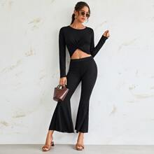Twist Front Rib-knit Crop Top And Flare Leg Pants