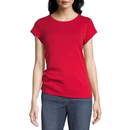 Liz Claiborne-Womens Crew Neck Short Sleeve T-Shirt, Large , Red