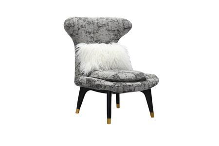 Chantilly Collection FAC9141-AC Accent Chair with Gold Tipped Wood Tapered Legs  Wingback Design  Contemporary Style  Plush Multi Density Foam Filled