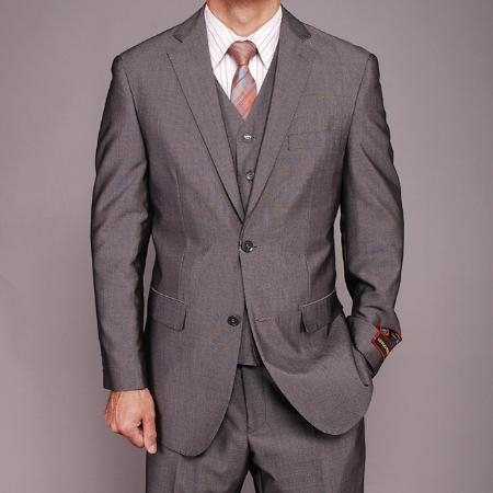 Mens 2 Button Vested 3 Piece Suit with Notched Lapel Collar Grey
