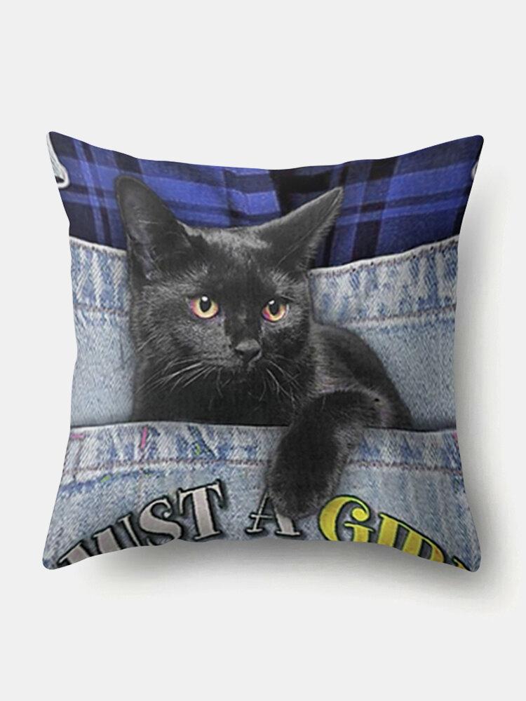 Personalized Plaid Letter Cat Pattern Linen Cushion Cover Home Sofa Art Decor Throw Pillowcase