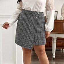 Faldas Extra Grande Envolvente A cuadros Elegante
