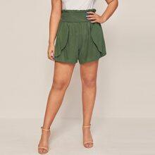 Shorts con diseño cruzado de cintura con volante - grande