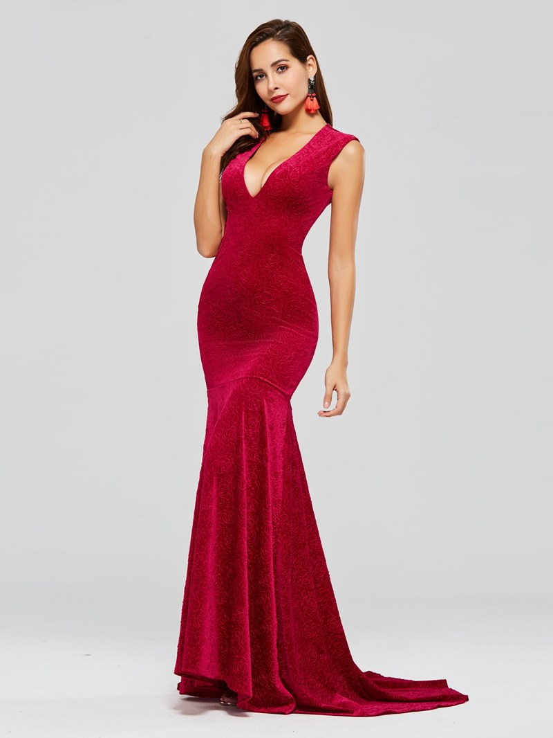 Ericdress V Neck Mermaid Evening Dress With Sweep Train