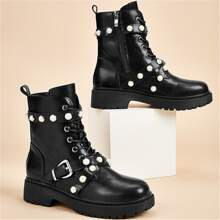 Faux Pearl Decor Combat Boots