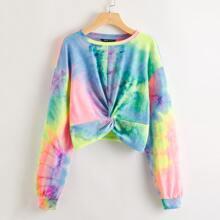 Drop Shoulder Twist Hem Tie Dye Pullover