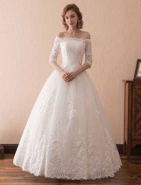 Milanoo Wedding Dresses Princess Lace Off The Shoulder Bridal Gown Half Sleeve Floor Length Bridal Dress
