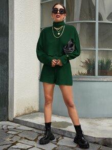 Drop Shoulder Rib-knit Sweater & Shorts Set