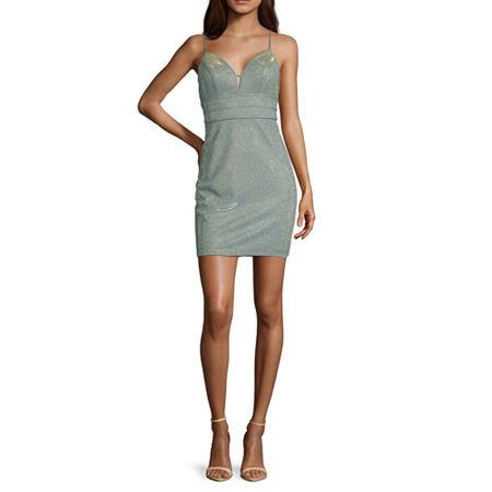 City Triangle-Juniors Spaghetti Strap Bodycon Dress, 0 , Silver