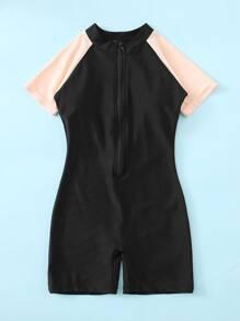 Girls Color Block Zip-up One Piece Swimsuit