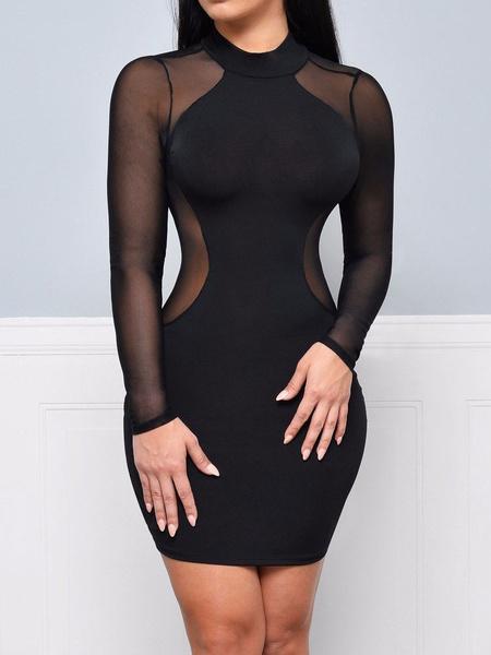 Milanoo Sexy Club Dress Black Long Sleeve Cut Out Tulle Bodycon Dress